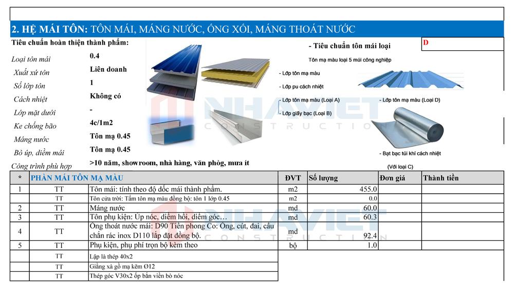 Đơn giá dự kiến hệ tôn mái nhà xưởng 15x30m