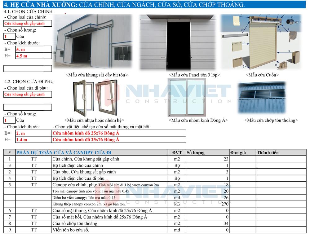 Đơn giá dự kiến hệ cửa nhà xưởng 15x30m