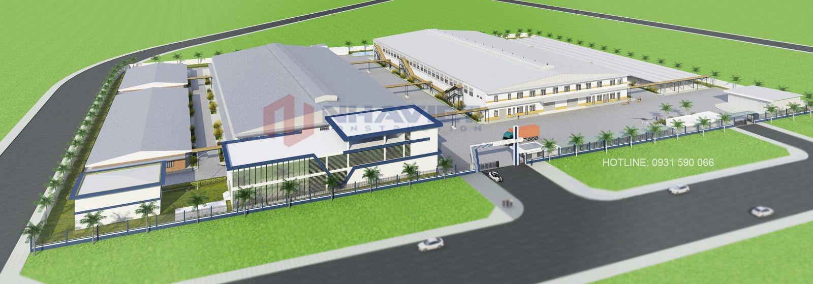 Thiết kế nhà xưởng may công nghiệp 2 tầng hiện đại tại Hải Phòng