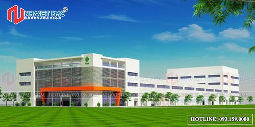 Phối cảnh thiết kế nhà xưởng tại Đồng Nai