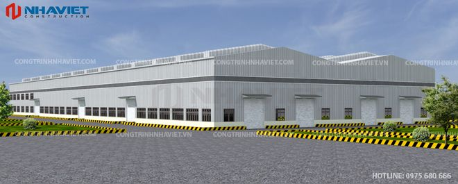 Phối cảnh thiết kế nhà xưởng Phú Lâm - Hải Phòng nhìn từ phải sang