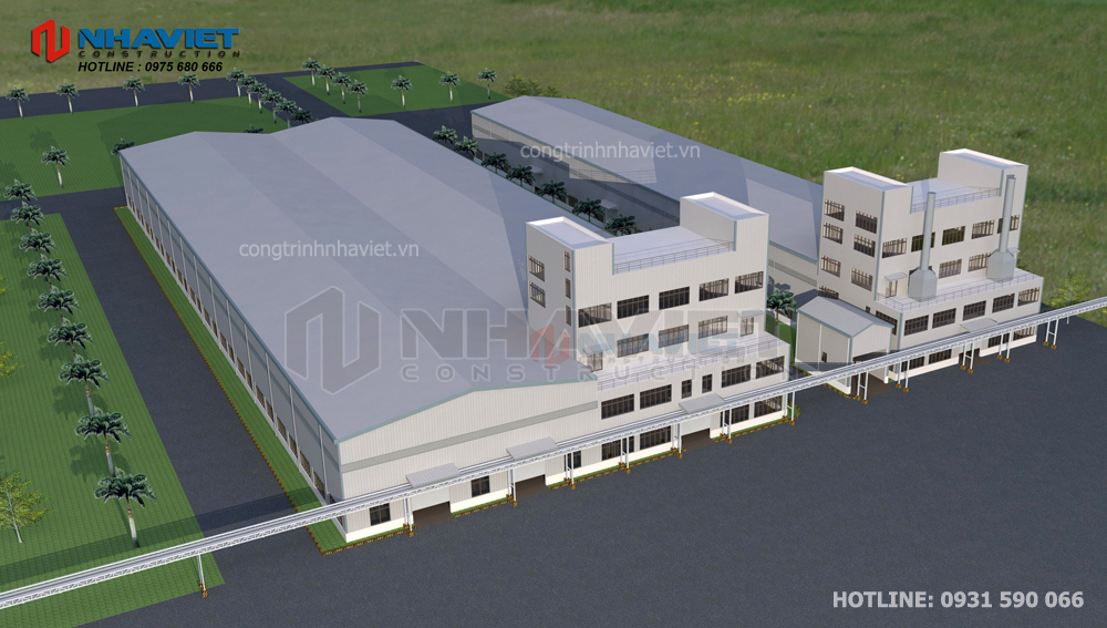 Thiết kế nhà xưởng kết hợp văn phòng tại Hải Phòng