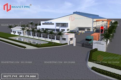 Thiết kế phối cảnh tổng thể công trình nhà xưởng tại Hưng Yên